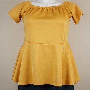 Ashley Stewart Tops - Ashley Stewart Marilyn Peplum Top Golden Yellow